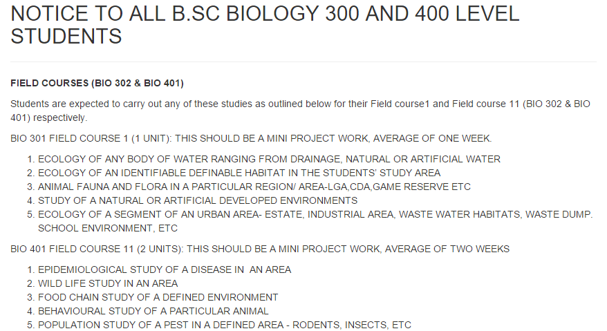Noun notice to all B.sc Biology 300 and 400 level students