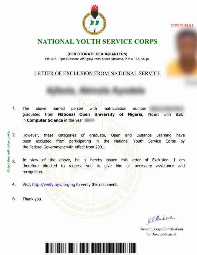 NYSC Exemption Letter for NOUN Graduates